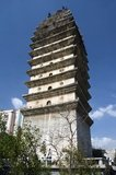 The Bai-style Dongsi Ta or East Pagoda dates originally from the Tang Dynasty (618 - 907), but at this time Kunming was part of the Nanzhao Kingdom. Western sources believe it was destroyed in the late 19th century during the Muslim Rebellion. Chinese sources maintain that it was destroyed by an earthquake. It was rebuilt in 1901.<br/><br/>  Nanzhao (also Nanchao and Nan Chao) was a Buddhist kingdom that flourished in what is now southern China and Southeast Asia during the 8th and 9th centuries.